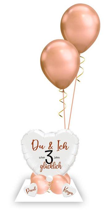 Ballon Luftballon Heliumballon Deko Namen glücklich Überraschung Mitbringsel Ballonpost Ballongruß Versand verschicken Ich liebe dich Herz Liebe Geburtstag Jahrestag Hochzeitstag Geschenk Idee schon 1 2 3 4 5 6 7 8 9 10 Jahre personalisiert Du & Ich