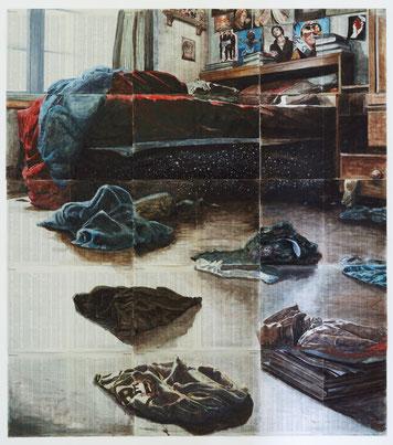Arjan van Helmond, BED-SCAPE #10, 2014, Tinte, Gouache und Acryl  auf Papier,  168 x 190 cm