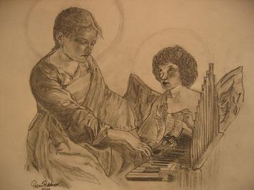 Die heilige Cecilia mit Engel - in der Nacht gezeichnet - im März 2010