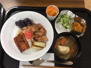 今日はうなぎ、豚生姜焼き、けんちん汁ets