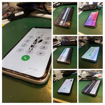 液晶故障のiPhoneを並べた写真