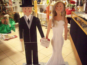 Brautpaar mit Namen und Datum  ca. 120 cm hoch