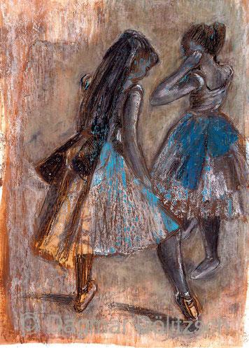 Tänzerin nach Edgar Degas, impressionistische Farben, Zeichnung
