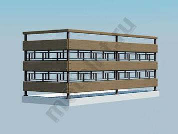 Балконное ограждение с деревянными вставками