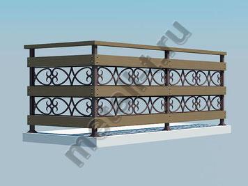 Балконное ограждение металлическое с деревянными вставками