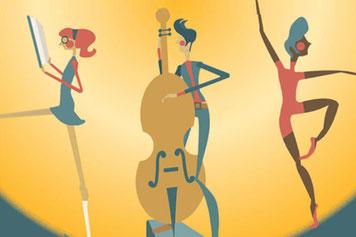 Offene Kulturbühne für Frauen* in Dresden | Die Illustration zeigt in der MItte eine androgyne Frau mit Cello, rechts von ihr eine dunkelhäutige Tänzerin & links eine Rothaarige mit Nerdbrille und Buch vorm Gesicht die aus dem Bild zu schreiten scheint.