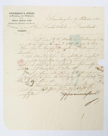 Bief von Oppermann & Strohl an den Uhrenhändler Karl Wehrle in Eisenbach, 9. Feb. 1855