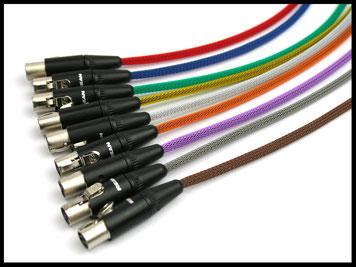Mini XLR (TA3) Kabel mit Gewebeschlauch