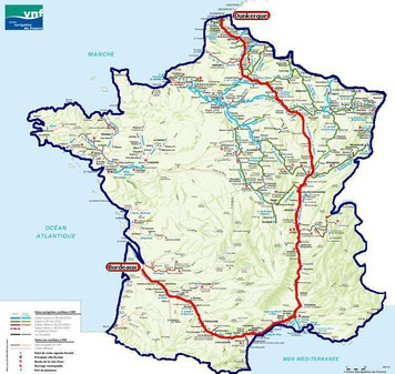 Traversée de la France en bateau par les fleuves et les canaux
