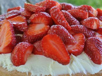 Rhabarber und Erdbeeren mit Biskuit