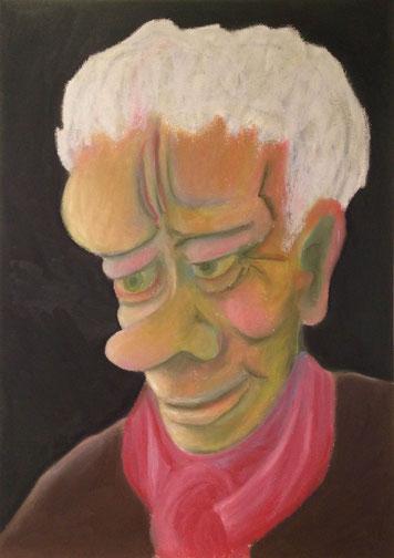 Herr mit rotem Schal, 29x42cm, Ölpastell auf Papier, 2015