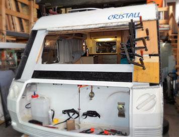 Wohnwagen Front Reparatur Fäulnis beheben ersetzen Cristall