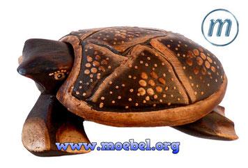 Schildkröte aus Holz, bemalt, als Schmuckkassette oder Aschenbecher