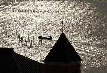 朝の小船(浜名湖)) A3ノビ