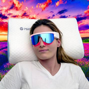 lunette custom psio , et oreiller musical et olfactif PSIO - femme champs lavande