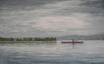 Trübes Wetter am Untersee, Insel Reichenau (Öl auf Leinwand, 20 x 32 cm)