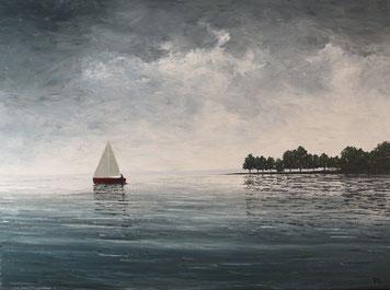 Grau in Grau am Bodensee (Öl auf Leinwand, 45 x 60 cm, verkauft)