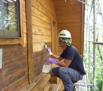 ログハウス 木部 漂白 カビ落とし あく洗い