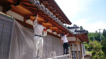 木部あく洗い後の塗装工事