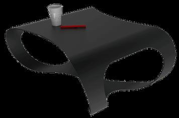 Table basse Design noire en métal thermolaqué.