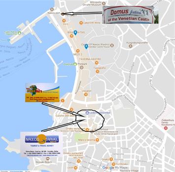 Map of Naxos Chora - Naxos Travel Agency - Enjoy Naxos