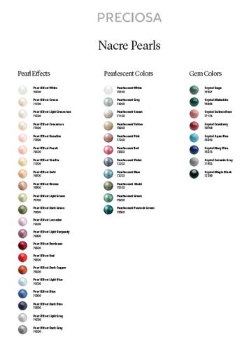 Preciosa Color Chart Pearls