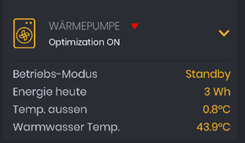 Im Solar Manager angezeigte Informationen bei eingebundenen Wärmepumpen.