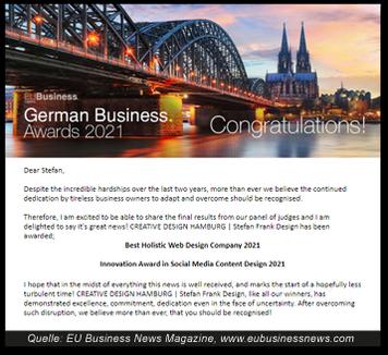 Best Holistic Web Design Company 2021 - Innovation Award in Social Media Content Design 2021 für CREATIVE DESIGN HAMBURG   Stefan Frank Design