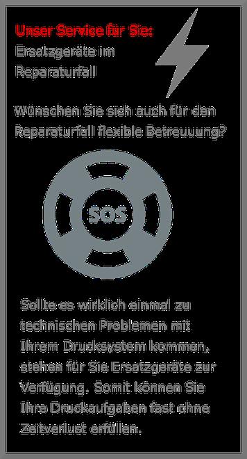 Service Niesel-Etikett Ersatzgeräte im Reparaturfall