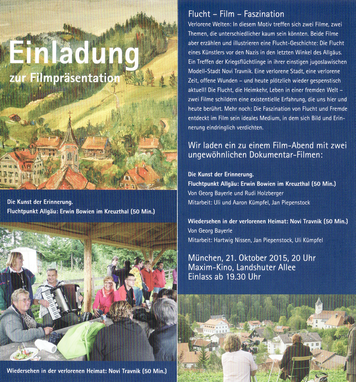 "Invitation to the film premiere ""Vanishing point in the Allgäu, the art of memory, Erwin Bowien in Kreuzthal"" on October 21, 2015 in the Maxim cinema in Munich"