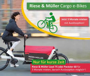 Riese & Müller Lasten e-Bikes für drei Monate mieten