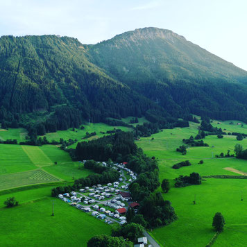 Luftaufnahme vom Campingplatz Camping Pfronten im Allgäu