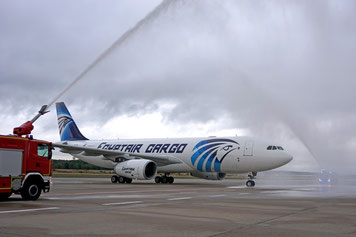 Egyptair Cargo's A330-200P2F was welcomed by Cologne's fire brigade with a traditional water shower