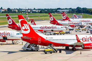 This impression is deceptive: Air Berlin's fleet is not grounded but continues flying  -  photo: AB
