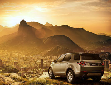 Itatiaia, Brazil produced Jaguar Land Rover standing on top of Rio de Janeiro hill for promotional purposes  -  picture: JLR