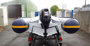 Alu RIB von SunMarine, 4,50 m, 25 PS Suzuki, Harbeck Trailer