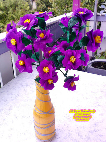 crepe paper flowers purple