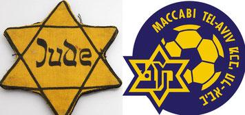 Collage Judenstern und Logo Maccabi Tel Aviv