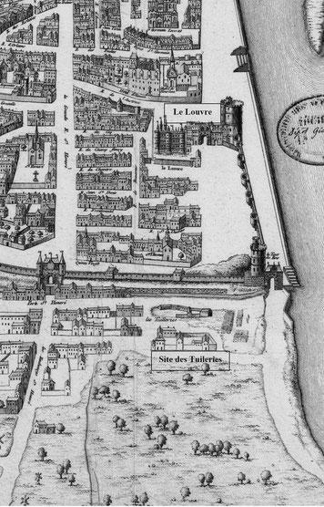 Paris en 1550.Plan St Victor.«Louvre and Tuileries Palace on a 1575 map of Paris - numericable-fr-parisbal» par Cruche, engraver [identified as Pierre Eskrich (1518 or 1520 – last mention 1590 in Paris)]François de Belleforest (1530–1583), publisher — C