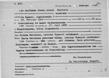 """Sterbeurkunde des Standesamtes Oranienburg mit der fingierten Todesursache """"Kreislaufschwäche"""""""