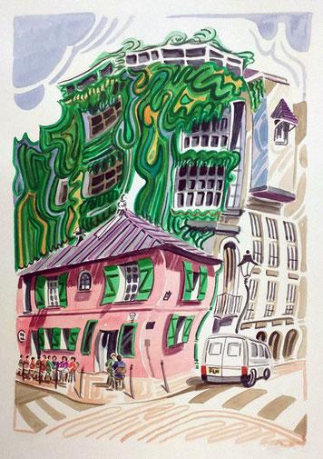 CASA ROSA DE MONTMARTRE (PARIS). Watercolor on pressed paper. 76 x 56 x 1 cm.
