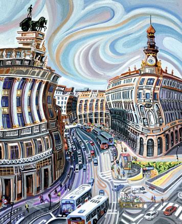 PLAZA DE CANALEJAS (MADRID). Huile sur toile. 100 x 81 x 3,5 cm.