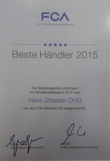 Auszeichnung Beste Händler 2015