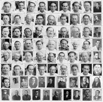 Composizione con le foto disponibili degli internati passati per il campo fascista di Casoli (CH).