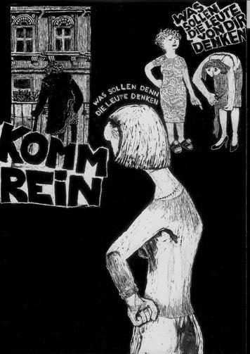 Illustrationen von Josefine Lemke zu einer Geschichte von Laelia Kaderas über ein Mutter-Tochter-Verhältnis
