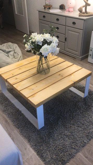 pied de table basse en métal thermolaqué blanc