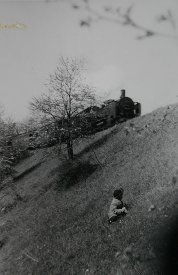 Administrator beobachtet 1957 den Personenzug am Bahndamm unterhalb des Seeställchens kurz vor Steinbach