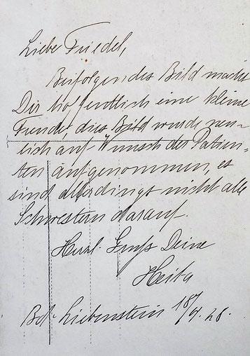 Text auf der Rückseite der obigen Karte