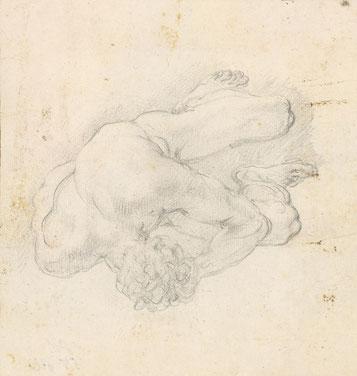 RCIN 907049 St Michael driving out Satan and his angels. Um 1720. Schwarze Kreide, Blattformat 151 x 145 mm