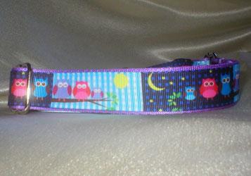 Halsband, Hund, Martingale, 2,5cm breit, fliederfrben mit Borte Eulen